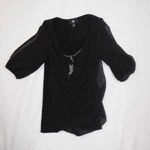 iZ Byer Knit Top with Sheer Front